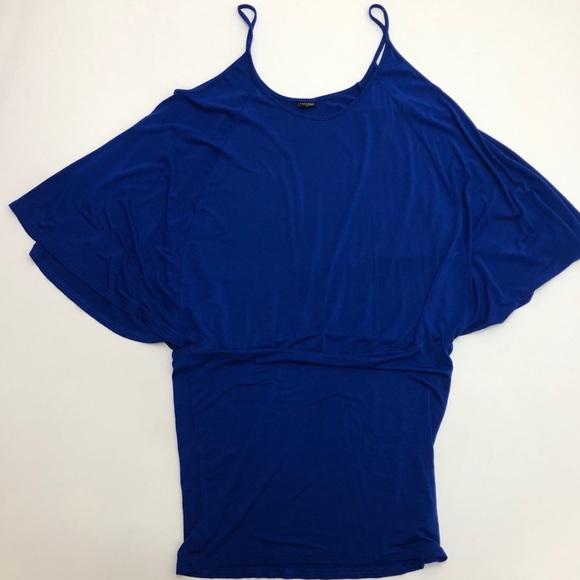 VENUS Tops - Lascana By Venus Blue Cold Shoulder Tunic Top